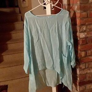 Pretty baby blue linen cotton blend tunic